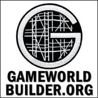 white on black circular iron-on patch of a large capital G filled in with scaffolding structure Gerüstbau symbol on white background, Gameworld Builder, Trainer Path, StartOver.xyz, Possibility Management