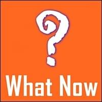 large single white question mark symbol in crude caveman graphics on orange background, What Now, Trainer Path, StartOver.xyz, Possibility Management