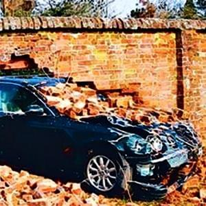 black car crashed through a brick wall, Go Beep Shift Go, StartOver.xyz, Possibility Management