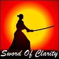 samurai with katana sword drawn in silhouette in front of yellow sun on orange sky, Sword Of Clarity, Trainer Path, StartOver.xyz, Possibility Management
