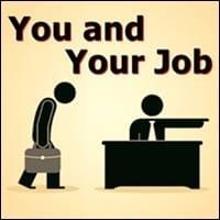 silhouette cartoon characters of sulking imployee being fired and scolding boss sitting at desk on tan background, You And Your Job, Trainer Path, StartOver.xyz, Possibility Management