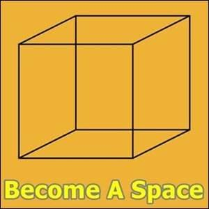 black outline of cube on yellow background, Become A Space, Trainer Path, StartOver.xyz, Possibility Management