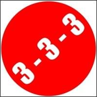 3 3 3 in a red circle slanted white background