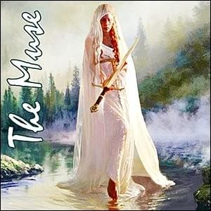 painting of blond caucasian woman barefoot wearing white dress and shawl standing in a pond by tree-covered mountains offering you a sword, The Muse, Trainer Path, StartOver.xyz, Possibility Management