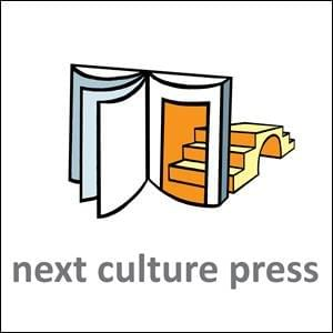 A stylised standing book, the page it's opened to being a door to a bridge to next culture - next culture press