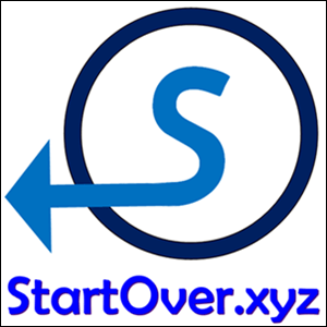 A blue capital letter S with its tail turning into an arrow in a dark blue circle - StartOver.xyz