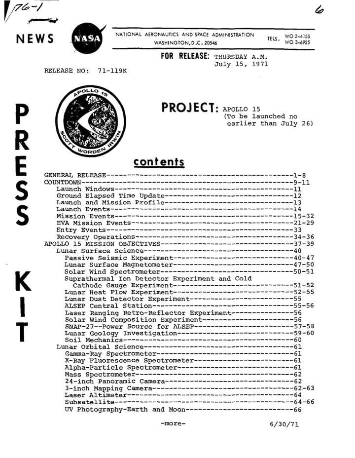 Apollo 15 Press kit