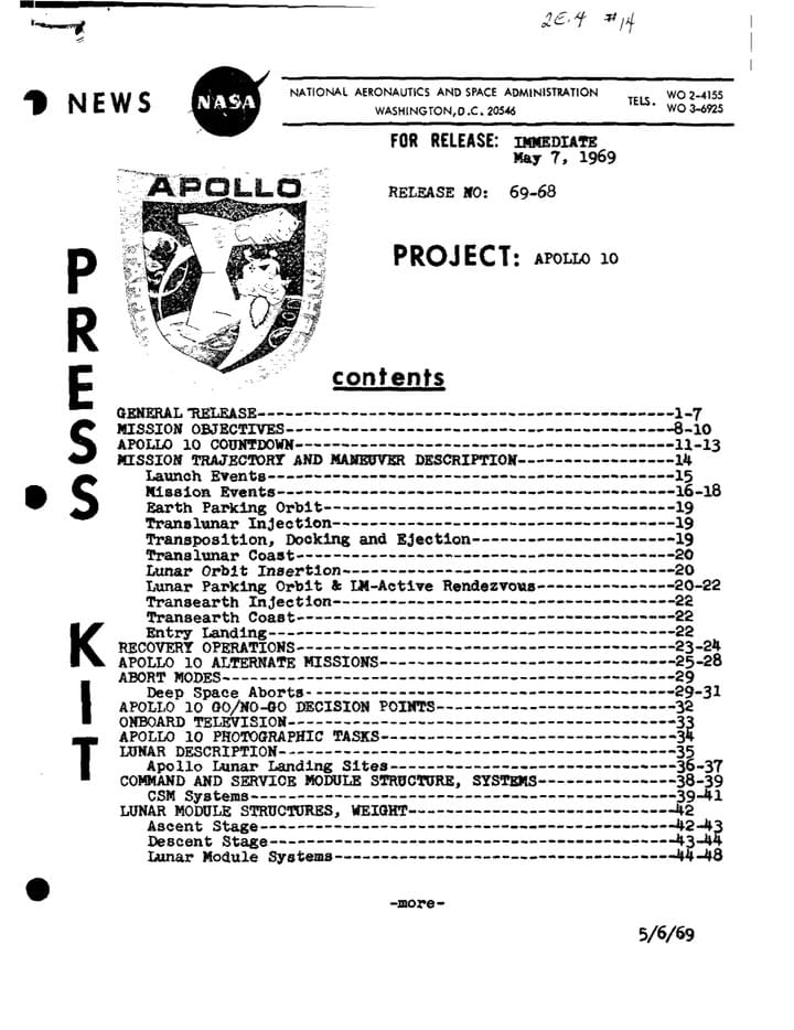 Apollo 10 Press kit