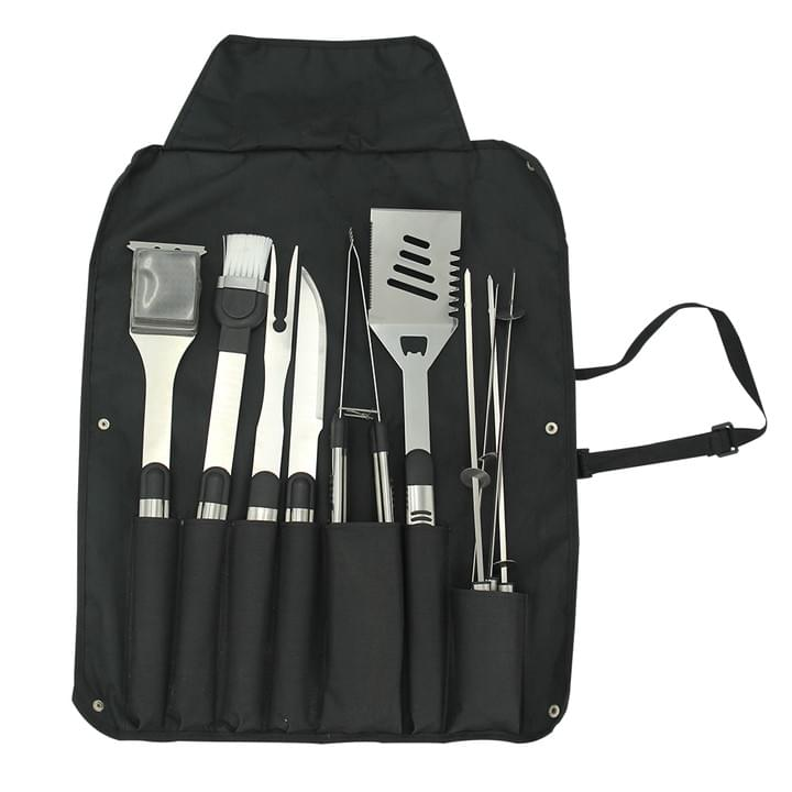 Grilling Accessories with Apron, Spatula, Tongs, Skewers, Knife