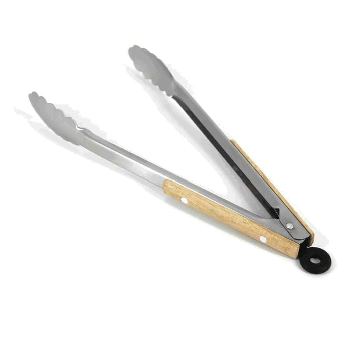 wooden handle BBQ tongs
