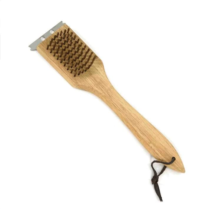 Barbecue Grill Brush and Scraper with wooden handle
