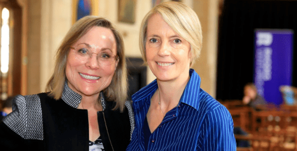 SkyAdvisor Leigh Teece and SkyDeck Executive Director Caroline Winnett at the Rhodes Venture Forum, Oxford, UK, June 21-22, 2019