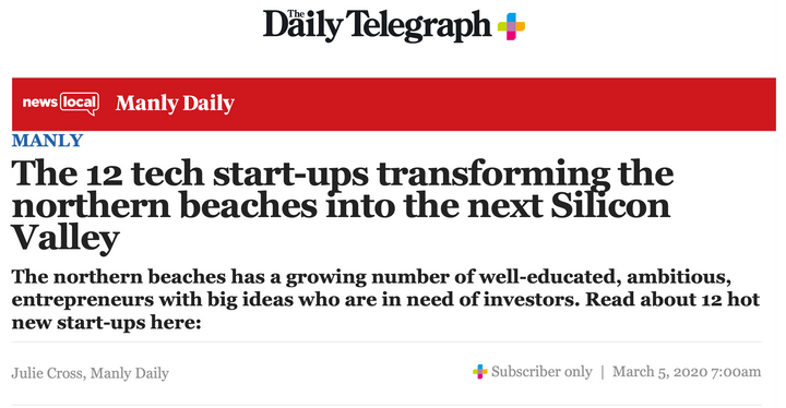 SEVENmile Venture Lab article in Daily Telegraph
