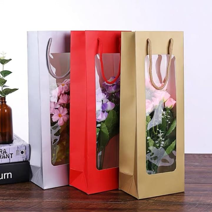 Custom Paper Bags with PVC window for flower and Gift