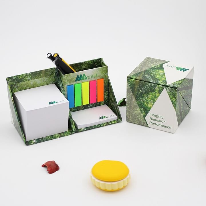 Promotional Foldable Square Cube Sticky Note Memo Pad Box with Pen holder