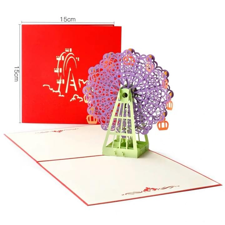 Custom handmad 3D Ferris wheel Pop Up Greeting Cards