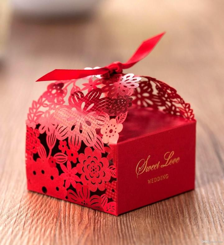 Red Laser cut wedding candy gift box