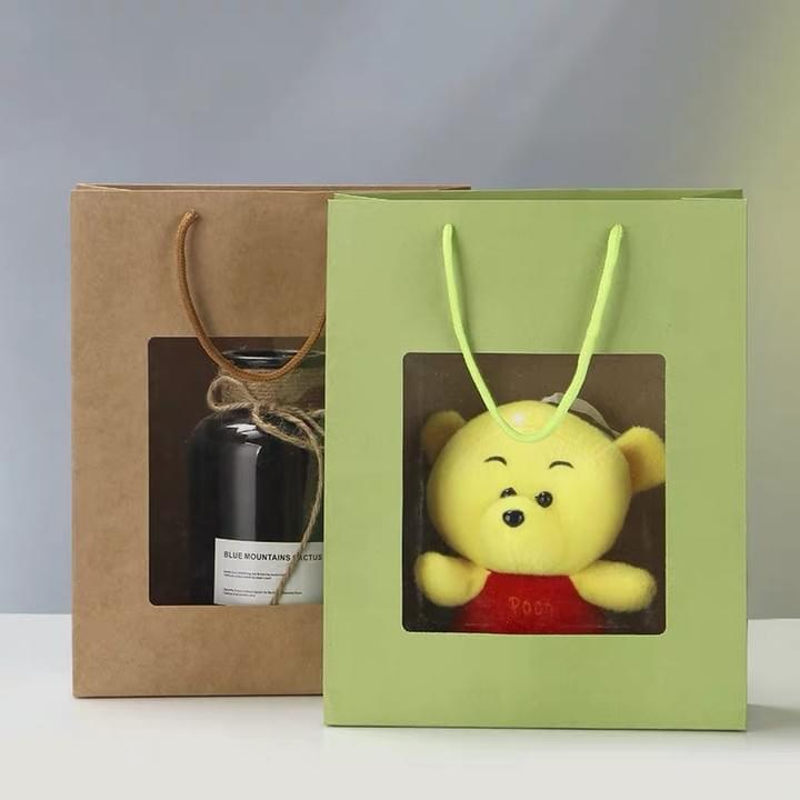 Kraft Paper gift Bags with PVC window