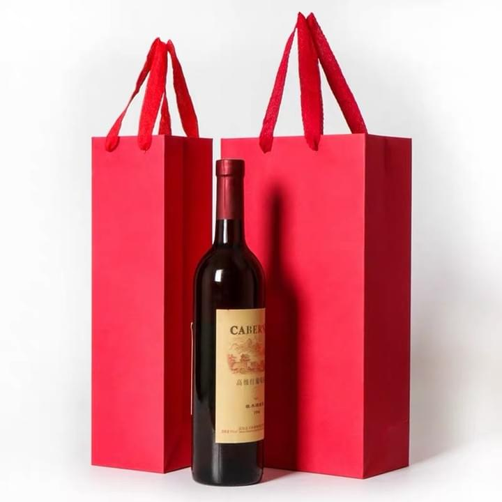 Red Wine Paper Bags with Ribbon Handle