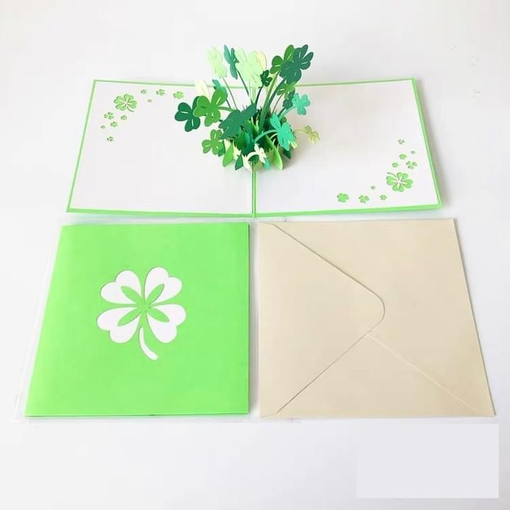 Lucky Four-Leaf Clover Handmade 3D Pop-Up Card Valentine's Day Card