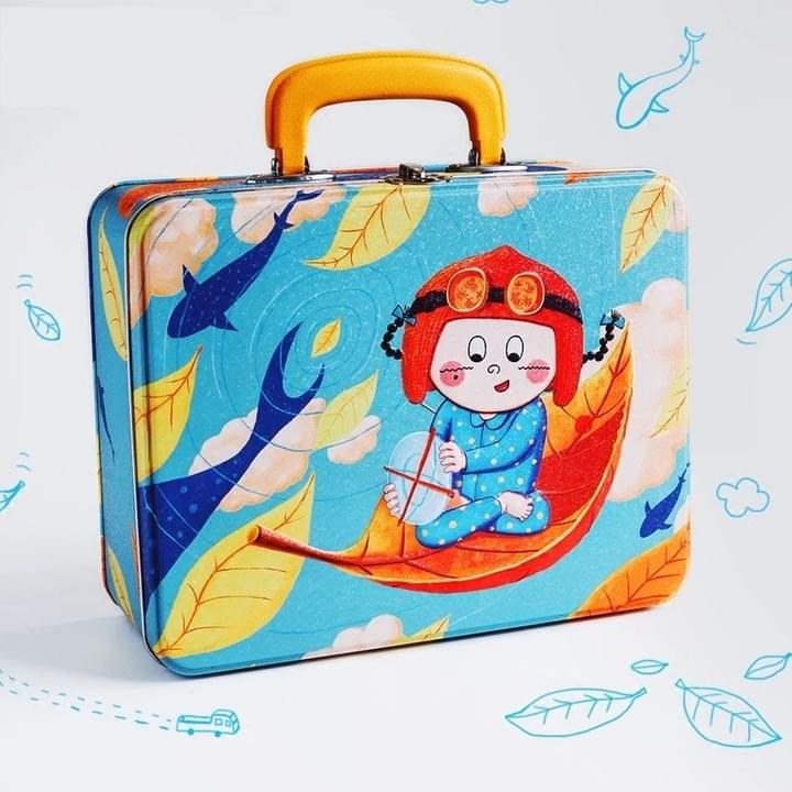 Custom colorful printing cute rectangle metal lunch tin boxes with handle
