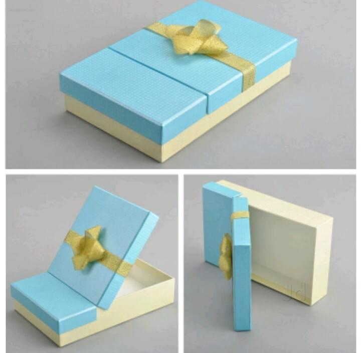 2 compartments Blue Gift Boxes with Gold Ribbon
