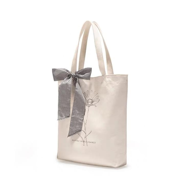 Canvas Tote Bags with Ribbon