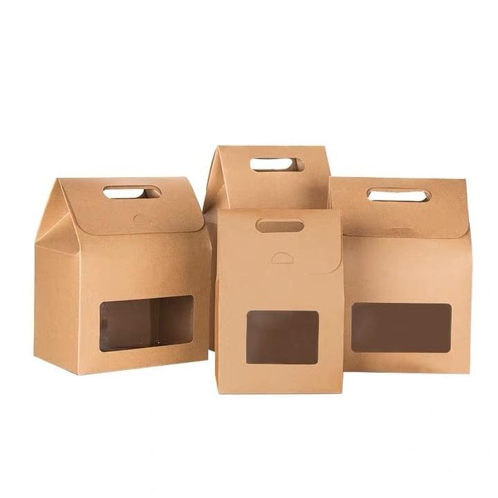 Kraft Paper Bags with window and handle for food and cookie