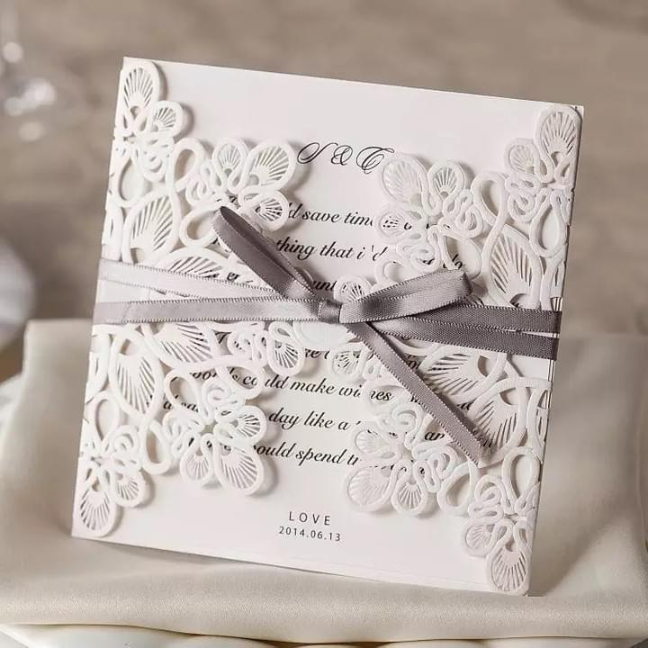 Laser Cut Wedding Invitations Cards with Bow Lace Sleeve for Baby Bridal Shower Birthday Engagement Wedding Invites