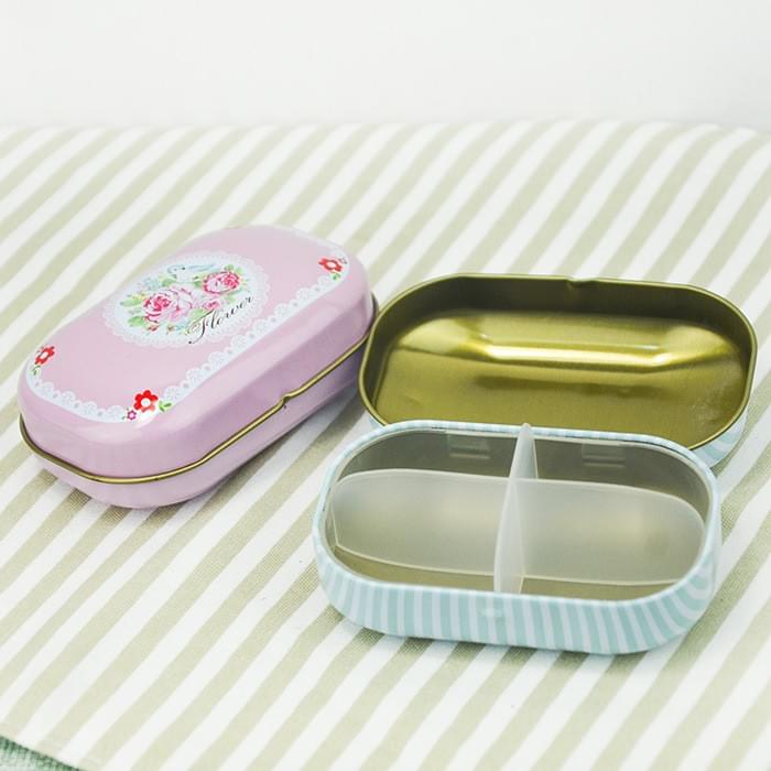 Oval Tin Box with divider