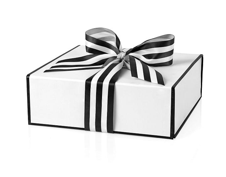 Classic gift box decorated with black and white striped ribbon