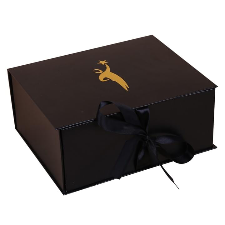 Black Packaging gift Box with ribbon closure