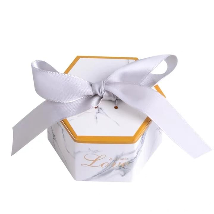 Hexagon Shaped Gift Box with Ribbon