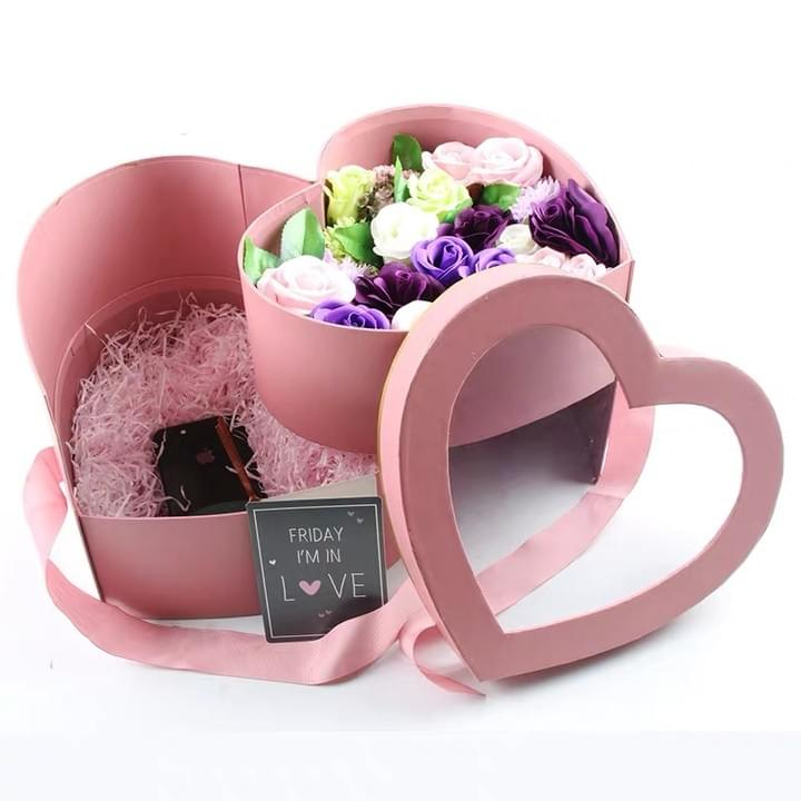 Custom 2 layers Heart shaped Gift box with PVC window