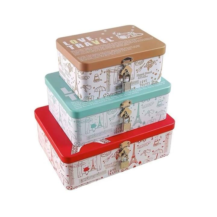 Amazon.com Tinplate Gift Box Cosmetic Box Tin Box with Lock