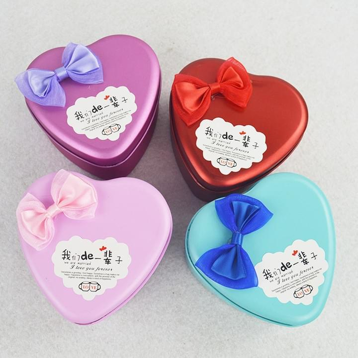 Custom heart shaped Wedding Candy gift Tin Boxes
