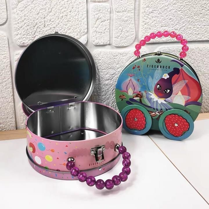 Customized Children Gift hinged rectangle metal lunch tin boxes with jewelry handle