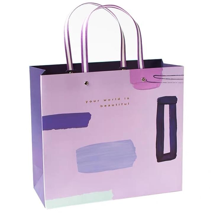 Custom Fashion Paper Shopping Bags with Rivet String Handle