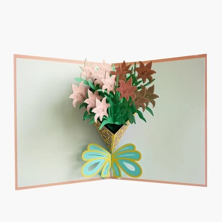 3D flower Pop Up Thank You Greeting Cards