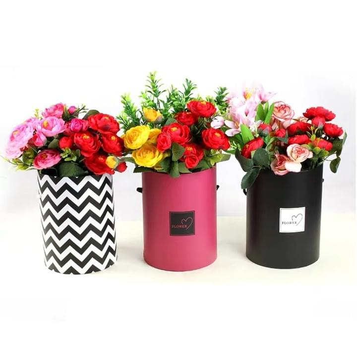Custom Luxury Cylindrical Packaging Flower Paper Box with Lid Set