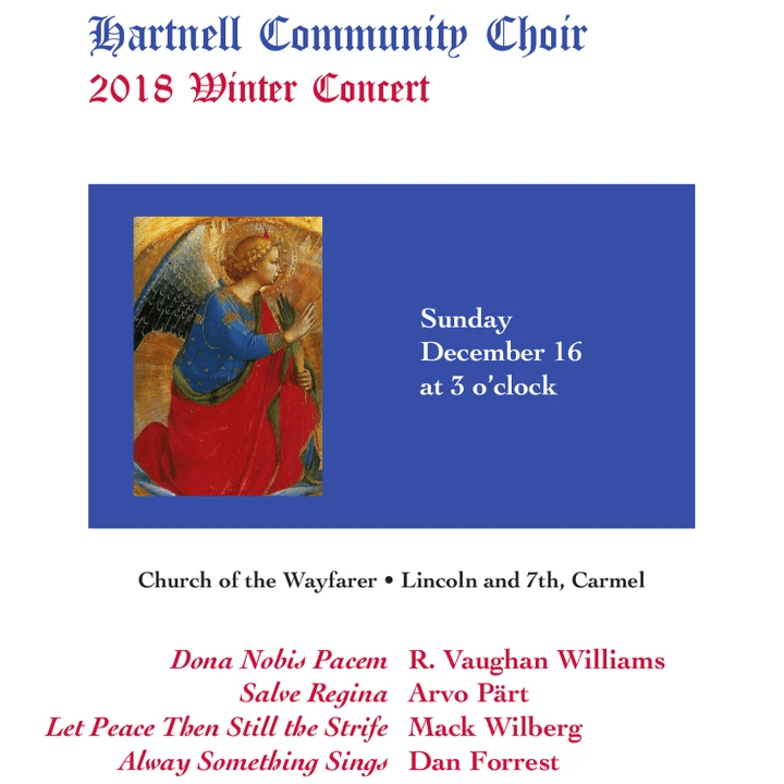 Choral Artists of Carmel, Winter 2018 publicity poster