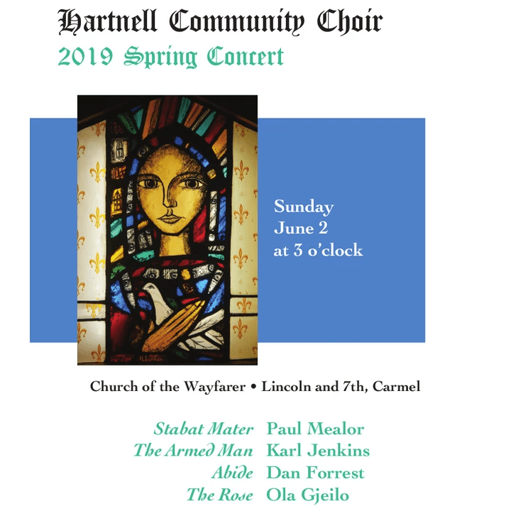 Choral Artists of Carmel, Spring 2019 publicity poster