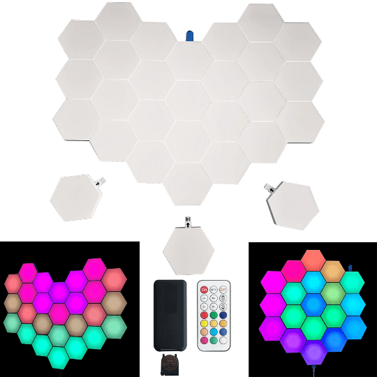 programmed hexagonal lights