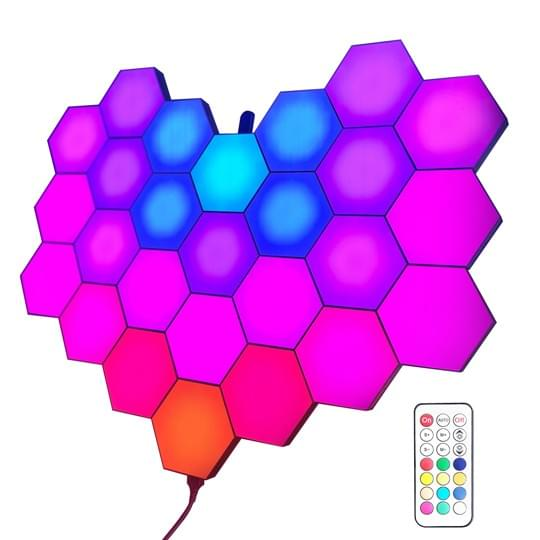 programmed hexagon lights
