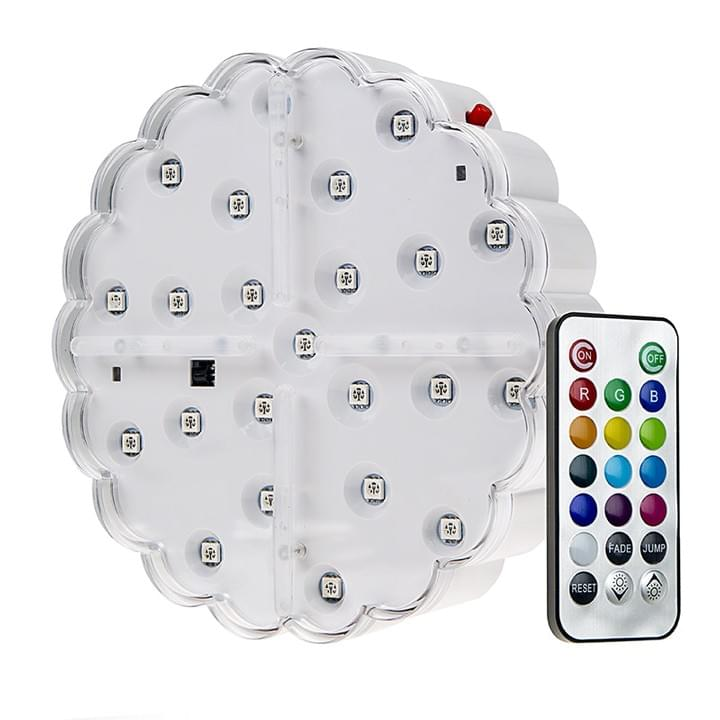 Remote Controlled, 6 inch dia, Multi Colored Centerpiece Light Base