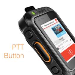 PTT Walkie Talkie - PTT Button on VP-2000 Smart Walkie that allows easy operation of Walkie Talkie Mode