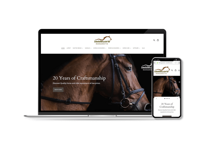 Wangaratta saddleworld website on a laptop by plum digital hub