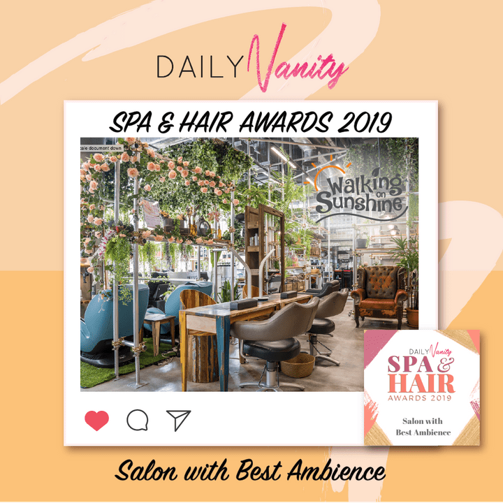 Walking On Sunshine Salon and Cafe wins Best New Comer in the Beauty Insider SG Spa & Salon Awards 2019