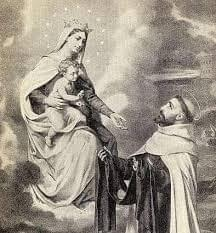 Our Lady giving St. Simon Stock the Scapular.