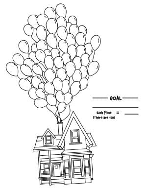 House Flying with Dozens of Balloons